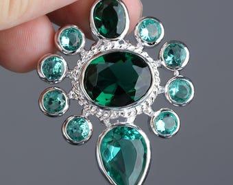 Sapphire Blue Necklace Pendant Blue Crystal Pendant Necklace Silver Statement Necklace Pendant