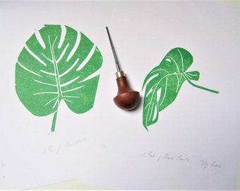 Monstera leaf print,Monstera plant print, Cheese plant lino print, Botanical art print, Pair of prints, Hand printed art, Linocut wall art