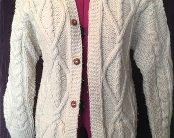 Vinatge Men's Hand Knit Wool Cardigan Sweater