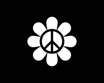 Peace Sign Decal - Peace Flower Decal,Peace Symbol Decal,Peace,Hippie Sticker  Peace Sign Phone Decal  Peace Car Sticker Laptop Yeti Tumbler