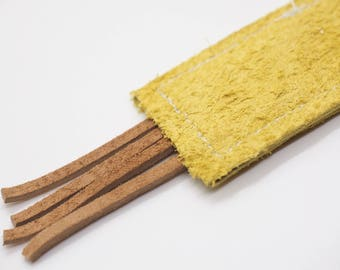 Leather Suede Cat Toy Kick Stick, Yellow with Brown Tassels
