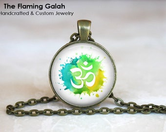 OM Symbol Pendant • Green Watercolour OM • Namaste • Gift for a Yogi • Yoga Jewellery • BoHo OM • Gift Under 20 • Made in Australia (P1402)