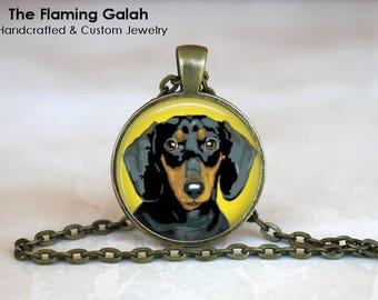 DACHSHUND POP ART Pendant • Sausage Dog • Pop Art • Yellow Pop Art • Yellow Dog • Pet Jewellery • Gift Under 20 • Made in Australia (P1517)