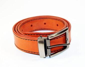 Orange Leather Belt ,Leather Belt , Handmade Belt,Great Gift. Orange belt.