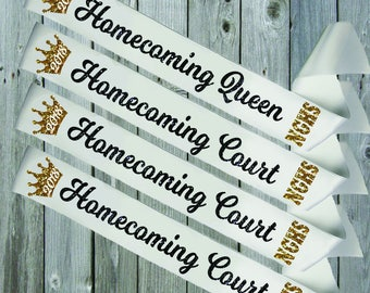 WHITE SASH CROWN Homecoming Queen and Court