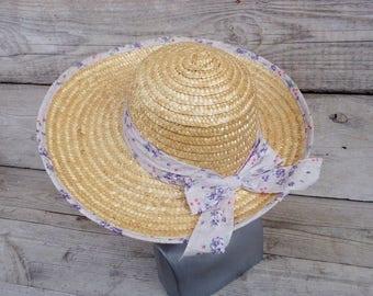 Vintage Straw Hat, Straw Sun Hat, Woman Hat, Wide Brim Summer Hat, Fabric Ribbon with purple flowers, Natural Straw Hat, Women's Sun Hat