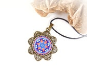 Mandala necklace with vishuddha chakra pendant, spiritual healing jewelry, sacred geometry medallion, negative energy protection, mom gifts.