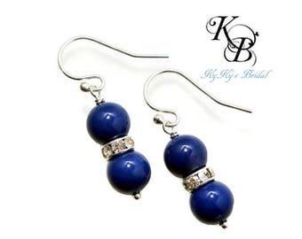 Something Blue Earrings, Blue Pearl Earrings, Blue Earrings, Bridesmaid Jewelry, Blue Jewelry, Something Blue, Wedding Jewelry