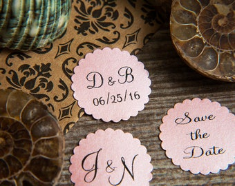 200 Baby Pink Save the Date Envelope seals, wedding stickers invitations. Printed Scalloped Round wedding Favour stickers. Matt