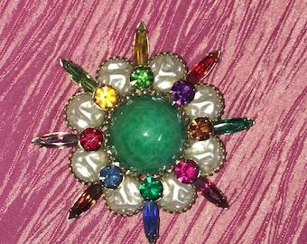 Vintage Signed Judy Lee 1960s Atomic Stunning Starburst Pin Brooch