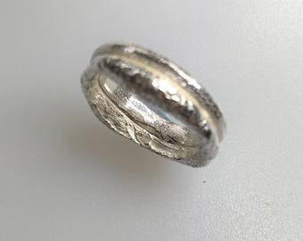Silver Cast Ring, Chunky, Handmade, Sand Cast Size L