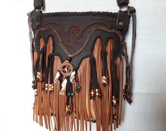 leather bag, brown,fringes bag,fancy bag,to hang arround,hippie bag,ghipsy bag,western bag,country,ethno,handmade bag,unique,hobo bag