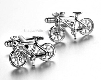 Men's Cuff Links - 3D Bicycle Bike Cycling Silver Colored  Weddings / Everyday / Gift