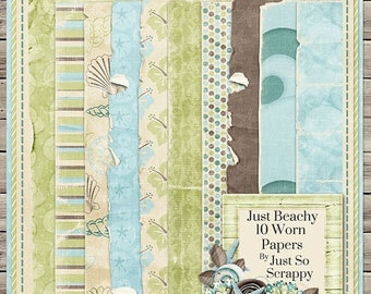 On Sale 50% Just Beachy Digital Scrapbook Kit Worn Papers Pack - Digital Scrapbooking