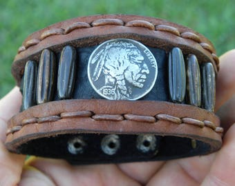 One Cuff Bracelet wristband Buffalo  Bison Leather wristband vintage Buffalo Indian Nickel coin bones rustic customize authentic signed