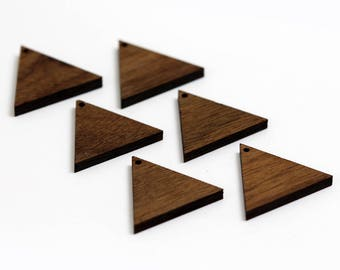 6 Equilateral Triangle Blank Beads : Walnut Plywood