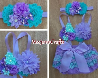 Lavender Aqua Babies/Toddler Outfit.  Cake Smash Outfit. Photography Props Outfit. Spring Summer Outfit.