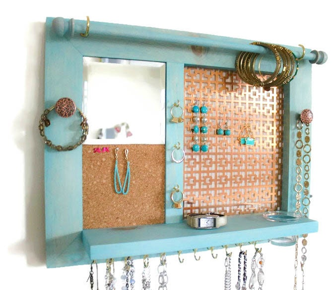 Space Saver AllinOne Jewelry Organizer Wooden Wall Hanging