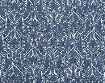 Navy Blue Home Decor Fabric by the Yard Designer Subtle Geometric Fabric Cotton Drapery Curtain Fabric Upholstery Fabric Navy Fabric C754