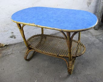 small vintage coffee table side occasional table rattan bohemian hobo chic