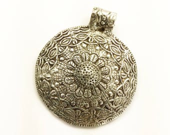 Large silver pendant etsy large round ethnic white metal pendant jewelry making supply 67x77 mm with bail aloadofball Gallery