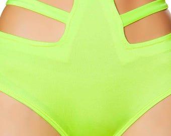 Lime Green High Waist Strappy Shorts, Rave Short, Rave Panty, Lingerie Bottom, Festival bottom