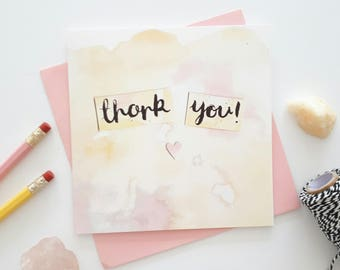 Thank you card - Appreciation card - Hand lettered card - blank card - thanks - wedding thank you card - birthday thank you card