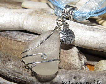 Frosted glass and spiral charm necklace