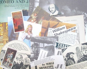Shakespeare paper craft kit: pack of 26 mixed vintage pieces. Ephemera pack for paper craft, scrapbook, collage, smash book. EP627