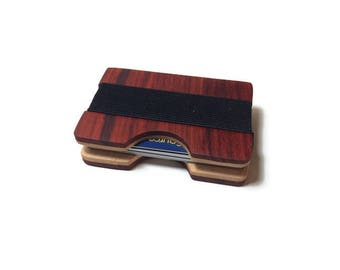 Handmade Exotic Padauk And Curly Maple Wood Wallet, Minimal Wallet, Credit Card Holder, Personalized Wallet