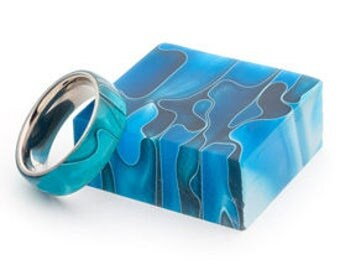 Handmade Blue Acrylic And Stainless Steel Ring