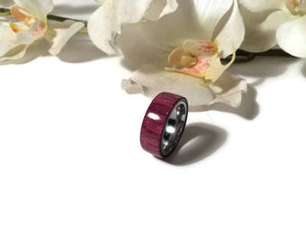 Handmade Exotic Purpleheart Wood And Stainless Steel Wedding Ring, Promise Ring, Anniversary