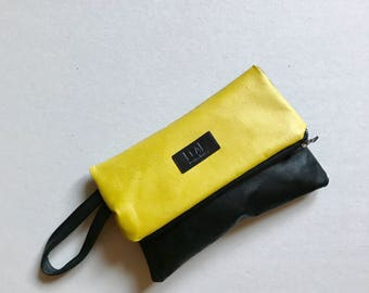 Yellow leather clutch | Oversized bag | Recycled yellow leather bag | Evening bag | Gift bag | Travel Bag | Tote bag