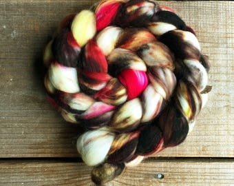 RED LETTER DAY color, spinning fiber, roving, handpainted, hand dyed, top, merino, superwash merino, hand dyed roving