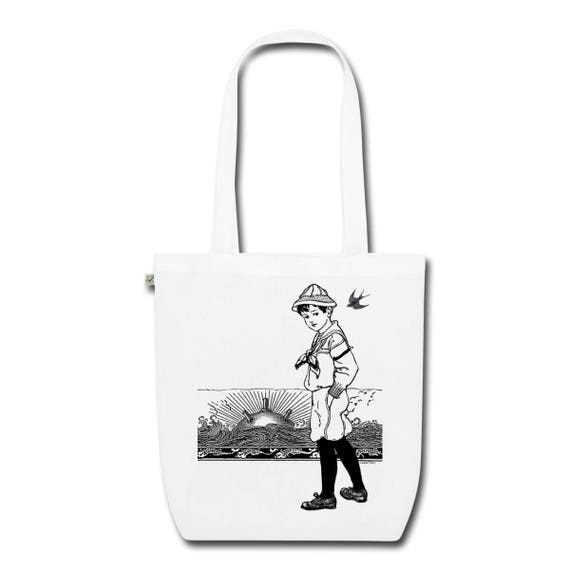 Organic Cotton Earth Positive Tote Shoulder Bag. White. 'A Day At The Seaside' Design. Beach Sea Ocean Sailor Mine Sunset Holiday Vintage.