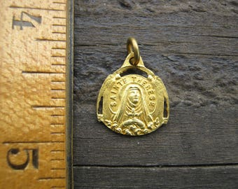 Saint Theresa Medal, Sainte Therese Pendant, French Religious Medal
