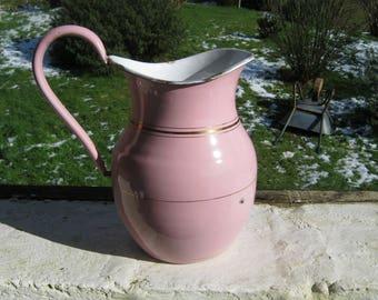 Pink Enamel Jug, French Vintage Enamel Jug