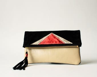 Clutch in Red - Metallic Geo Suede + Leather
