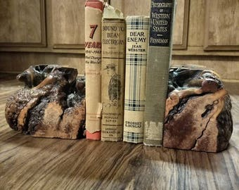 Vintage WOOD Burl Bookends, Wood Bookends, Custom Bookends, Handcrafted, Rustic Decor, Home Decor, Wood Burl Piece, Burl Bowls