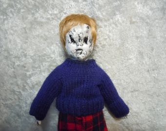 Small Creepy Boy Doll Ornament  #130  Day of the Dollies