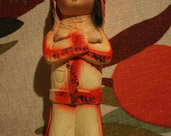 Mid Century Chalkware American Indian Figurine