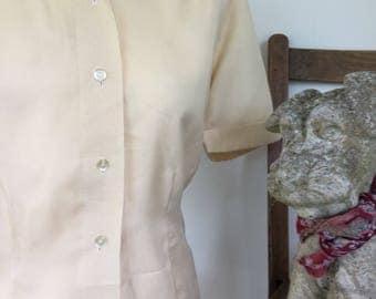 Vintage cream short sleeved blouse