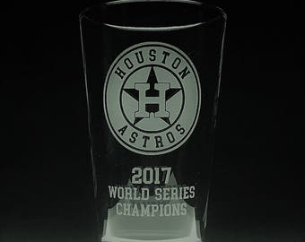 Houston Astros 2017 World Series Champions - Custom Etched Beer Pint Glass