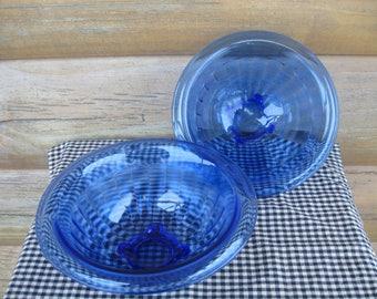 Pair Cobalt Blue Glass Mixing Bowls, Serving Bowls