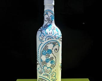 White Silver Light Blue  - Hand Painted Wine Bottle - Vase - Decorative Olive Oil Holder - decorative wine bottle - bar decor