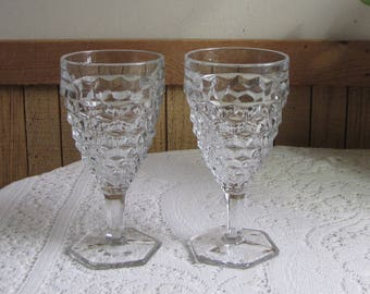 Fostoria American Water Goblets Vintage Drink and Barware