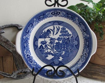 Blue Willow Handled Dinner Plate Royal China Co. Vintage Dinnerware and Replacements Chinoiserie