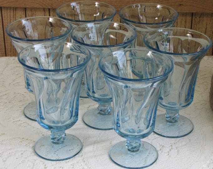 Vintage Fostoria Jamestown Ice Tea Glasses Set of 7 Blue Azure Stemmed Glasses 1952 to 1982