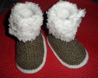 Booties, booties baby wool (0-3 months)