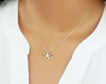 Starfish Necklace, Sterling Silver, Minimalist Necklace, Delicate Gold Jewelry, Boho, Bridesmaid Gift, Gift For Her, Layering Necklace
